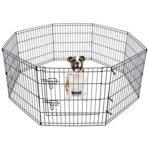 """Eigenheim Pet Dog Playpen Foldable Puppy Exercise Pen Metal Portable Yard Fence for Small Dog & Travel Camping 8 Panel-24& 24'' (24""""x24"""")"""