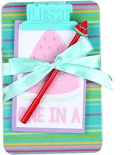 Board Clip Note Book Cartoon Board Clip Sticky Note Clipboard Memo Pads Set- Pen Notepad Clipboard Included (Green Watermelon)