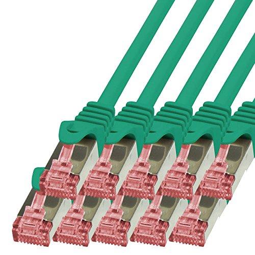 BIGtec - 10 Stück - 0,15m Netzwerkkabel Patchkabel Ethernet LAN DSL Patch Kabel Gigabit grün (2X RJ-45 Anschluß, CAT6, doppelt geschirmt) 0,15 Meter