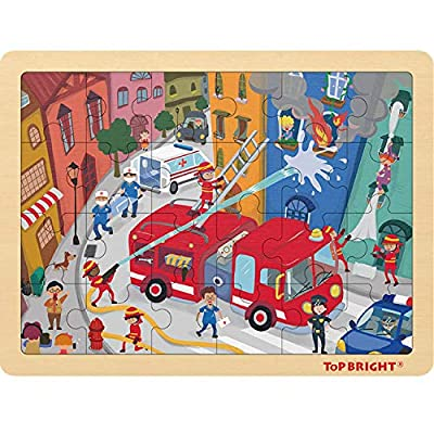 24 Piece Puzzles for Kids Ages 3-5 - Fire Rescue Wooden Jigsaw Puzzle with Storage Tray