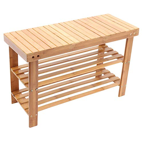 FASZFSAF Bathroom Bamboo Stool, Wooden Shower Chair Shoe Chair, can put Slippers and Toiletries, for Bathroom/Living Room/Bedroom/Garden