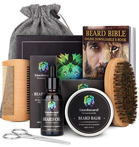 Lionbeard Beard Care Kit for Men Dad Beard Growth Grooming & Trimming, Beard Oil Conditioner, Balm Wax, Brush, Comb, Scissors, Xmas Gifts for Him