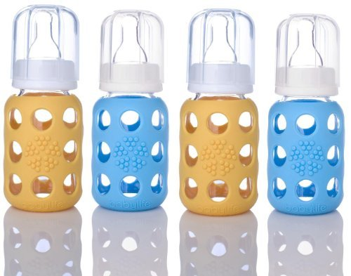 Review Lifefactory 4oz BPA Free Glass Baby Bottles - 4-Pack- Yellow and Sky