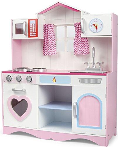 Leomark Cucina Rosa in Legno, Giocattolo per Bambini, Accessori per Cucina, Gioco in Legno con Illuminazione ed Effetti sonori, fornello Divertimento Pink Play Dimensioni: 82x30x101(A) cm