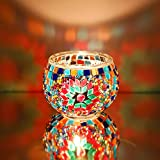 Marrakech Handmade Mosaic Glass Candle Holders with Tiny Mirror Shards Set of 2 (Multi-Colored)