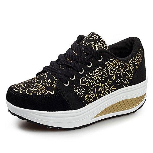 QZBAOSHU Mujer Adelgazar Zapatos Sneakers para Caminar Zapatillas Aptitud Cuña Plataforma Zapatos (37 EU, 2-1Negro)