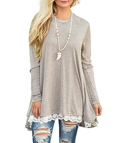 Bequemer Laden Pullover Damen Strickpullover Casual Loose Sweater Lange Sweatshirt Langarmshirt Oberteile Tunika Vorderer Saum mit Spitze,Khaki,XL