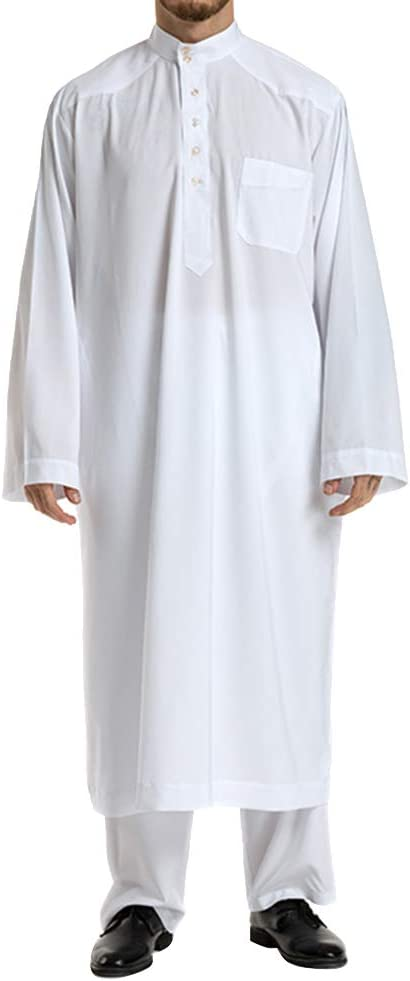 Islamic Thobe Pure Color Stand Collar Long Sleeve Middle Eastern Arab Muslim Wear Robe Clothes with Pants for Men Size XXXL (White)