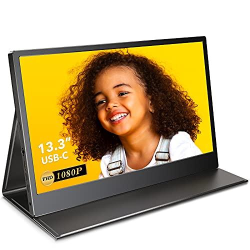 EVICIV Monitor Portatile USB-C da 13,3 Pollici con Display FHD 1080P, Schermo IPS Full-View, Type-C Full-Feature, Suono Stereo, Pulsante OSD