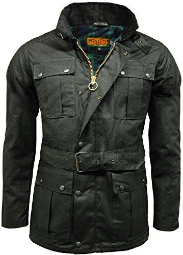 Game Herren-Biker-Jacke/Motorrad-Jacke mit Gürtel, Wachsjacke Gr. XXL, schwarz