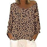 Auifor Floja Ocasional de Las Mujeres de Manga Larga de Cuello Redondo Leopard Hombro Inclinado de Gran tamaño Cuello Redondo Camiseta de la impresión Top(Amarillo/XXXX-Large)