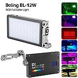 Boling BL-P1 12W RGB Build-in Battery Led On Camera Light Pocket Size Bi-Color 2500K-8500K 0-360°Full Color & Color Saturation Adjustment Led Light Aluminum Light Body