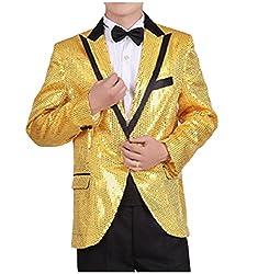 Yellow Turn-Down Collar Sequin Glitter Blazer Jacket