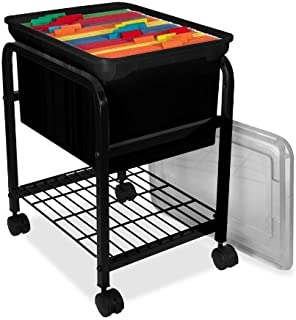 INNOVATIVE STORAGE DESIGN Hanging File Cart with Clear Lid, 15-5/8 by 18 by 25-5/8-Inch, Black