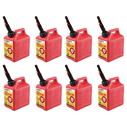 Midwest Can Company 1210 1 Gallon Gas Can Fuel Container Jugs w/ Spout (8 Pack)