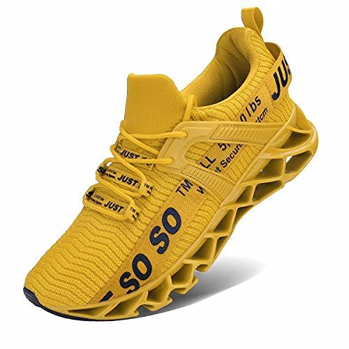 JSLEAP Turnschuhe für Männer Herren Sportschuhe Laufschuhe Atmungsaktiv Sneaker Leichte Wanderschuhe Trainers Schuhe(1-Gelb,Größe 45 EU/275 CN