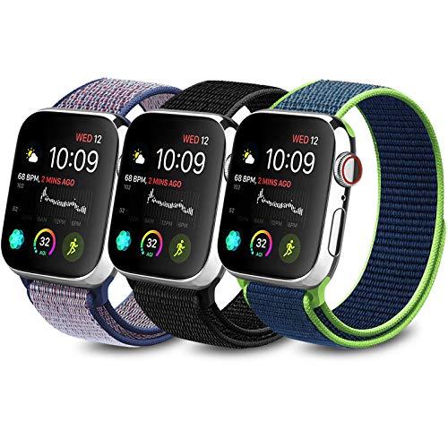 Meliya コンパチブル Apple Watch バンド 38mm 40mm 42mm 44mm ナイロンスポーツループ アップルウォッチ バンド 交換バンド 適応 iWatch Series 5 4 3 2 1 (42mm/44mm, ブラック+ミッドナイトブルー+紺青)