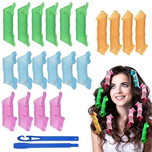 URAQT Lockenwickler Curler, 18pcs DIY Magic Haar Wellen Locken Wave Styling Kit für Lange Haare Mädchen den Heimgebrauch Waves Styler mit Styling-haken