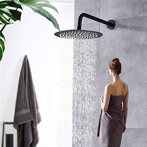 Rozin 12 Zoll(30 cm) Regendusche Runde Einbau Duschköpfe Edelstahl Ultradünn Duschkopf Schwarz Regenbrause Brausekopf aus Edelstahl mit Anti-Kalk-Düsen