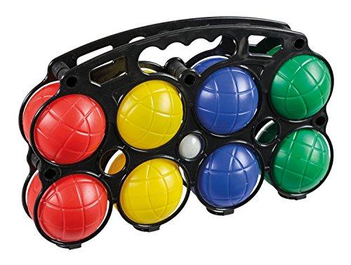 Idena 7400014 - Boccia Spiel mit 8 farbigen Kugeln und Zielkugel, aus Kunststoff und mit Wasser gefüllt, inklusive Tragekorb, ideal für Sommer, im Garten oder Park