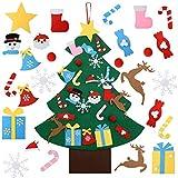 OFUN Feltro Albero Natale, 95cm della Feltolta di DIY con 26 Ornamenti Staccabili Regali (Babbo Natale,Pupazzo di Neve),Fatto a Mano Creativo per Bambini Decorazioni con 2 Luce Bottiglia