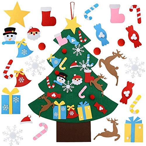 OFUN Filz Stoff DIY Dekoration für Kinder 26Pcs + 2 Weinflasche Led Lichterkette, 95cm Home/Tür/Wand Winter Hängend Dekor Filz Weihnachtsbaum zum DIY Handwerk