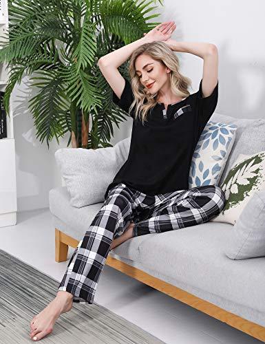 Doaraha Pijama a Cuadros para Mujer Camiseta y Pantalones Pijamas Manga Larga Celosía Ropa de Dormir de Algodón Manga Corta con Bolsillo Cuello de Muesca 2 Piezas (A#1 Negro (pantalón Largo), L)