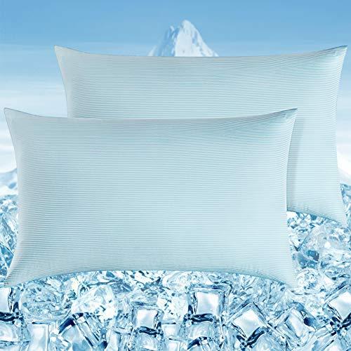 Elegear Funda de Almohada Enfriamiento 2 Set con Rayas Elásticas , Funda Protege Almohada con Fibra ARC-Chill Japonesa de Primera Calidad Almohada Protege Súper Suave Transpirable (Azul,50*75c