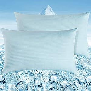 Elegear Funda de Almohada Enfriamiento 2 Set con Rayas Elásticas , Funda Protege Almohada con Fibra ARC-Chill Japonesa de Primera Calidad Almohada Protege Súper Suave Transpirable (Azul,50*75cm)