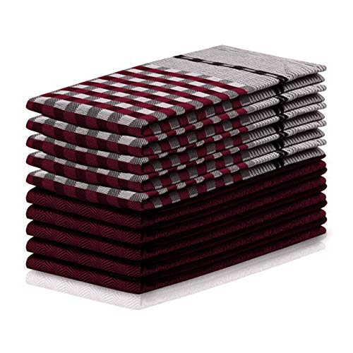 DecoKing Louie - Juego de 10 paños de Cocina (50 x 70 cm, con Colgador, 100% algodón), algodón, Rojo Burdeos y Negro, 10 Unidades