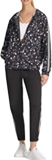 DKNY Sport Varsity-Stripe Hooded Jacket Boo Size Medium
