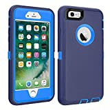 CAFEWICH iPhone 6/6S Case Heavy Duty Shockproof High Impact Tough Rugged Hybrid Rubber Triple Defender Protective Anti-Shock Silicone Mobile Phone Cover for iPhone 6/6S 4.7'(Navy Blue)