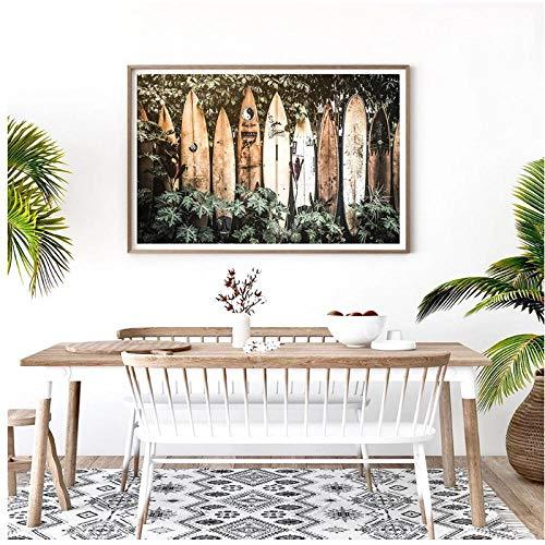 DLFALG Cuadro de decoración tropical de verano, cartel de arte de pared de surf tropical, tabla de surf de Hawaii, arte de pared, pintura en lienzo, decoración del hogar, 50x70cm sin marco