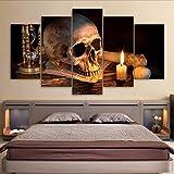 Zybnb Imprimé Moderne Salon Hd Home Decor Toile 5 Panneau Crâne Effrayant Bougie Allumée Photos Wall Art Modulaire Affiche...