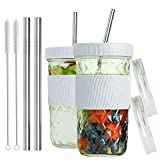 Reusable Smoothie Cups Boba Tea Cups with Lid and Straw,Bubble Tea Cup Glass Tumbler Travel Mug,...
