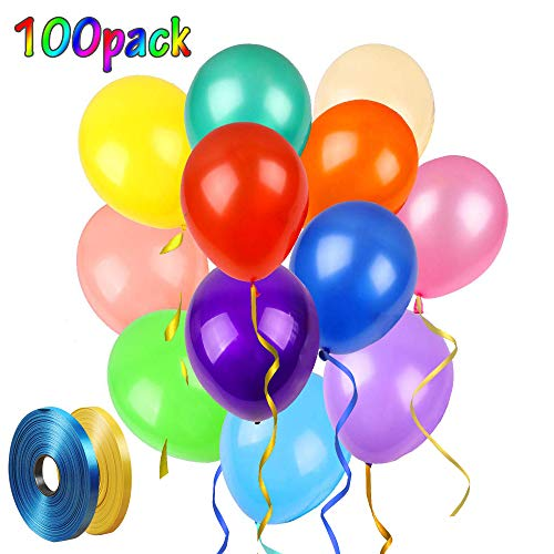 Best Review Of 100 Pack Assorted Color Balloons,12 Inches Rainbow Colorful Balloons Premium Latex ...