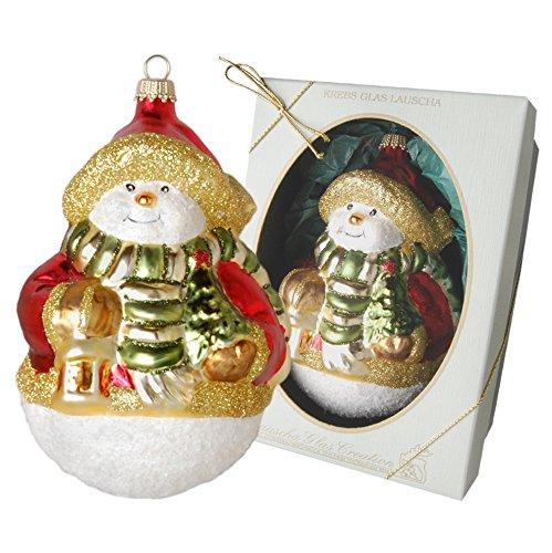 Krebs Glas Lauscha pupazzo di neve con sciarpa e albero di Natale ciondolo