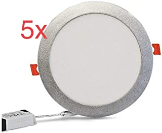 Led Atomant Pack 5x Panel Downlight Led Redondo, 18 W Marco Plata, Blanco Frio 6500K, 1600 Lumenes reales. Driver incluido, 225 Mm, 5