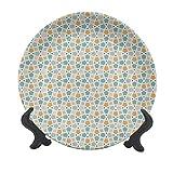 Plato decorativo de cerámica para colgar de 15,24 cm, diseño de enrejado de estilo antiguo, con líneas de enrejado y mosaico, decorativo para mesa de comedor, catering