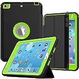 iPad Mini 4/5 Case, SEYMAC Three Layer Drop Protection Rugged Protective Heavy Duty iPad Mini Stand Case with Magnetic Smart Auto Wake / Sleep Cover for iPad Mini 4th/5th Gen Smart Case(Black/Green)
