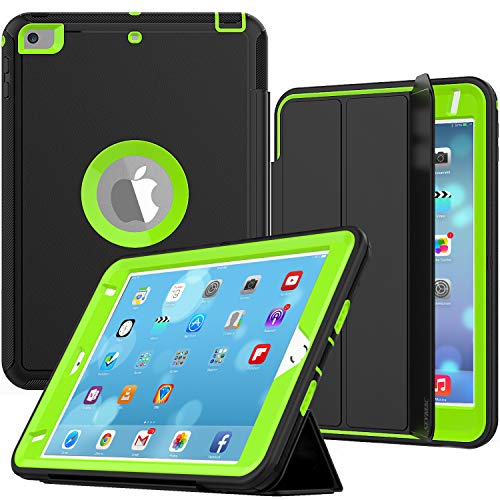 iPad Mini 4 Case, SEYMAC Three Layer Drop Protection Rugged Protective Heavy Duty iPad Mini Stand Case with Magnetic Smart Auto Wake/Sleep Cover for iPad Mini 4 Smart Case(Black/Green)