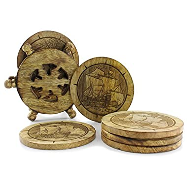 Wooden Sailing Ship Drink Coasters (Set of 6); Nautical Clipper Ship Distressed Driftwood Color w/ Ship's Wheel Wood Holder