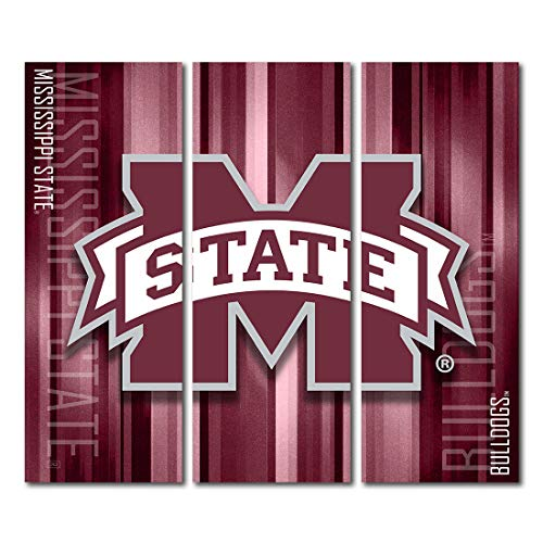 Victory Tailgate Mississippi State University Bulldogs Triptych Canvas Wall Art Rush (48x54 inches) image