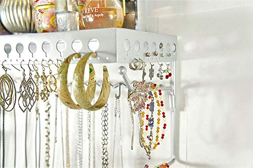 Mango Steam Wall-Mounted Jewelry Organizer Shelf (17 Inch, Silver)