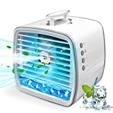 Portable Air Conditioner, Personal Air Cooler Mini Evaporative Cooling Fan, Small Space Air Conditioner with Hidden Handle, 3 Wind Speeds, 3 Spray Modes and 7 Night Lights for Room, Office,Home and Travel