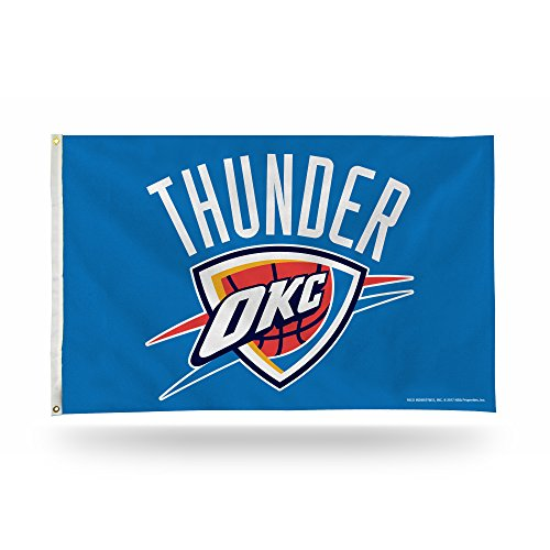 NBA Oklahoma City Thunder 3-Foot by 5-Foot Single Sided Banner Flag with Grommets