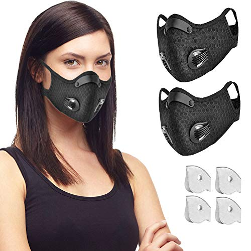 Face Masks, Breathable Face Mask, Reusable Dust Mask for Running, Cycling, Outdoor Activities, 2 Pack + 4 Extra Activated Carbon Filters +2 Valves