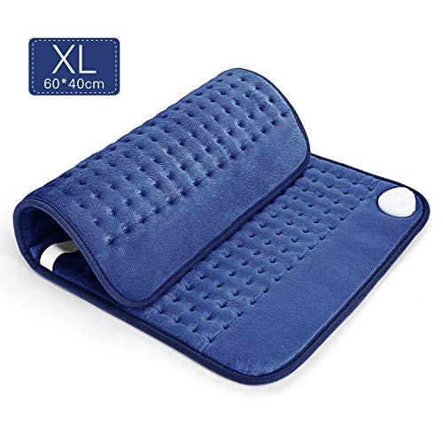 Heizkissen mit Abschaltautomatik und Schnell Heiztechnik - 40 * 60 cm Wärmekissen elektrisch mit verstellbaren Gürtel für Rücken, Nacken, Shultern (Blau)