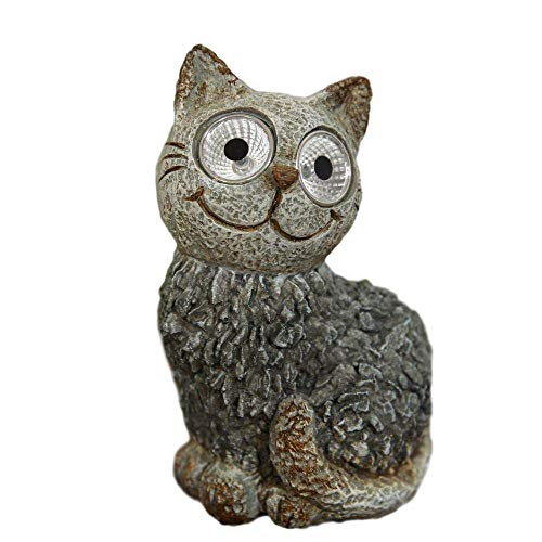 Country Living Animal Solar Powered Animal - Garden Ornament/Figure - Polystone Mosaic - Cat/Dog/Owl. (Cat)