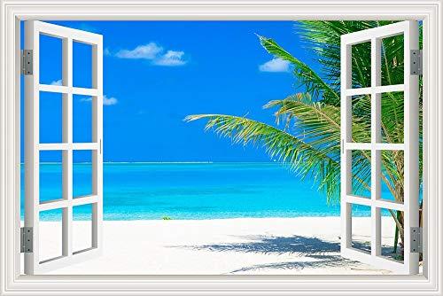 Blaues Meer Blauer Himmel Sommer Natur Wolken Welle Strand Sonnenschein Landschaft Wandaufkleber PVC Aufkleber Tapete 3D Fenster Ansicht Poster Schlafzimmer Dekor Poster